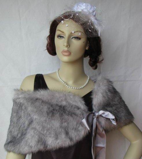 Silver Faux fox shawl