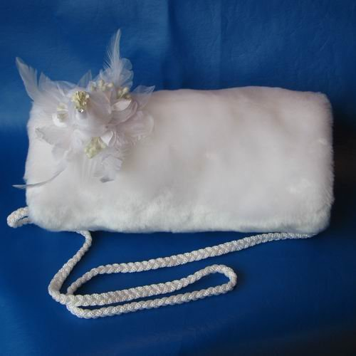 White Faux Mink Hand Muff