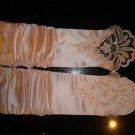 Fingerless&Beads Wedding Bridal gloves-Pink- Free shipment