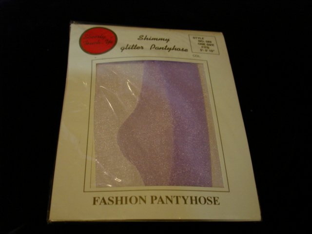 1 New-1pair-One Size-Bright Light Purple Fashion Shimmery Glitter Pantyhose
