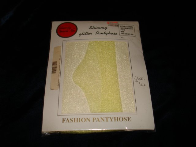 $2.99 New-1pair-Queen size-Light Canary (Yellow) Fashion Shimmery Glitter Pantyhose