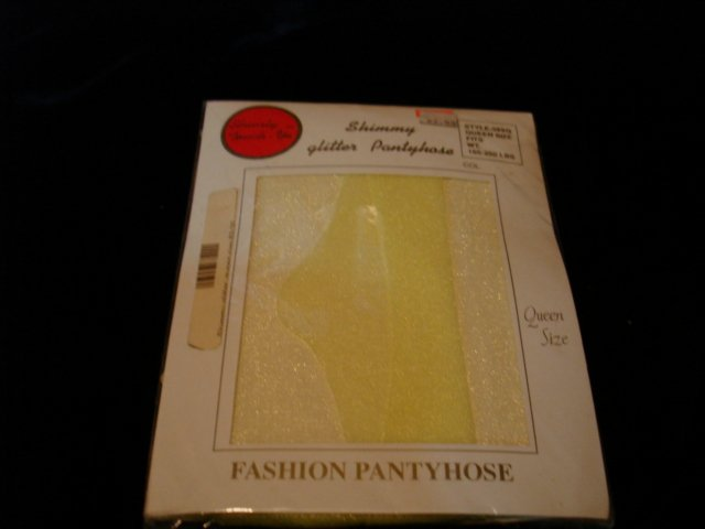 $2.99 New-1pair-One size-Bright Light Canary (Yellow) Fashion Shimmery Glitter Pantyhose