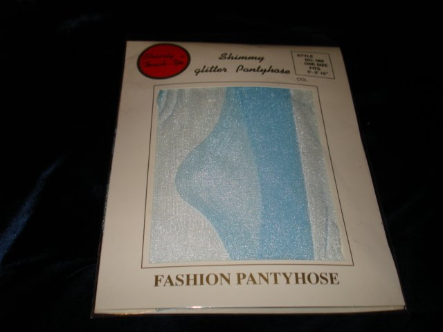 $2.99 New-1 pair-Queen size-Light Blue Fashion Shimmery Glitter Pantyhose