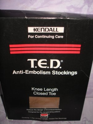$19  Medical Anti-Embolism Stockings Knee Length Closed Toe Kendall T.E.D. N ew&Sealed- Size M Beige