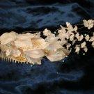 $9 Bridal Wedding Veil Prom Pageant blue Pearl&white Satin flowers Head Piece tiara,Crown Headband