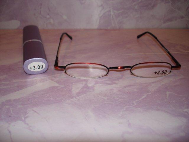 $9.99 free ship-New-Slim Reading Glasses +3.00 in Sturdy metalic magenta no frame under lenses Case