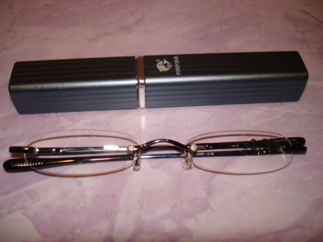 $9.99 free ship-New- Slim Reading Glasses +2.50  in Sturdy grayish Case