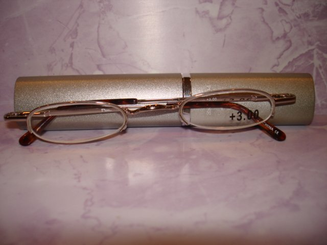 $9.99 free ship-New-Slim Reading Glasses +3.00 silver frame no lower rim in Sturdy  metalic Case
