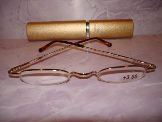 $9.99 free ship-New- Slim Reading Glasses silver frame no lower rim +3.00  in Sturdy Golden Case
