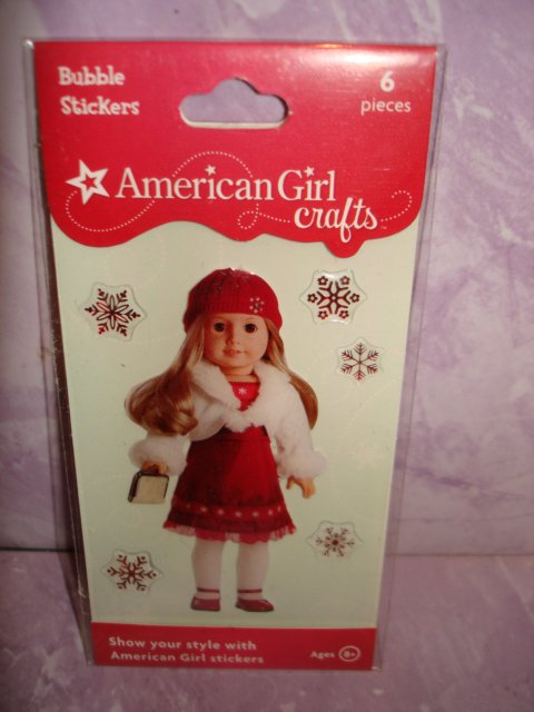 6 piece- American Girl Crafts Snow Dress doll 3D Bubble Stickers
