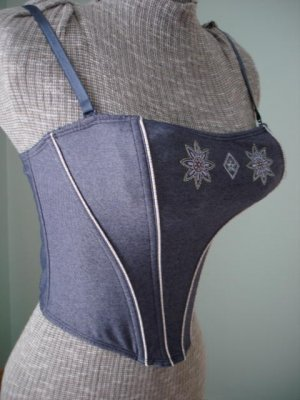 $7.99 New Tag-Fitted Stretch Bodice,Tank top Lingerie - Steel Boned Corset - L