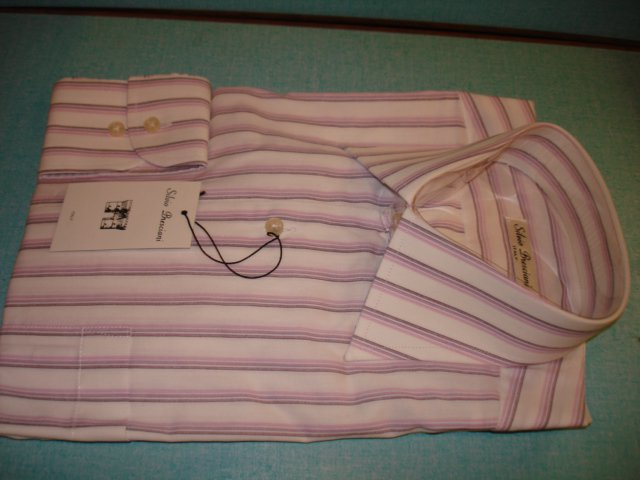 "$29.99 new& ag MEN'S Italian ""Silvio Bresciani"" Stripes DRESS SHIRT Long Sleeve 15. size 38 Cotton."