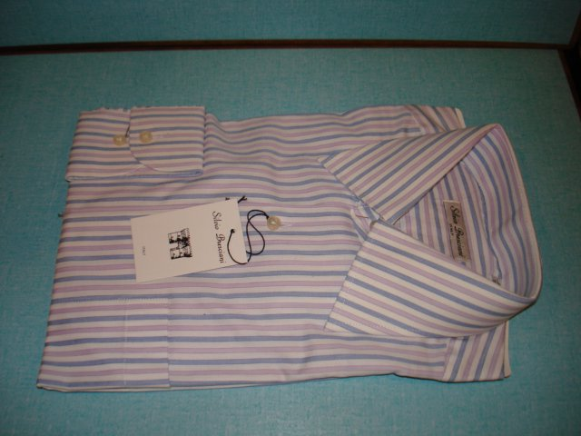 "$29.99 new&Tag MEN'S Italian""Silvio Bresciani"" stripes DRESS SHIRT Long Sleeve 17 size 43  cotton"