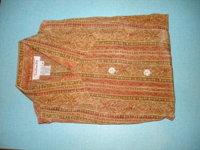 $14.99 free ship-New100% silk dress shirt  blouse tops TALBOT size 8/10=(M/L) mix of creme brown...
