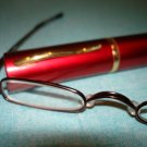$9.99 free ship-New- Slim Reading Glasses metalic color frame +3.50 in Sturdy red Case
