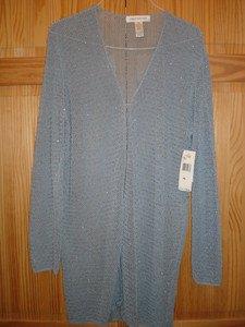 JONES NEW YORK long Tunic,Light Bluish Gray long sweather shiny bead Rayon XL