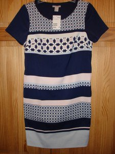 NWT_2013 H&M Lined Short dress Stretch Matt Satin Dark blue/Patterned size 6