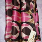 "NWT Connectioneighteen scarf silk, 1/2 sheer, geometric pattern 21""X70"" pink"
