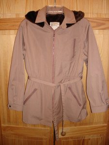 New London Fog Girls Hooded Belted Trench faux fur lined front zipper XL Junior