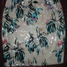 New & Tag_H&M Tropical FLORAL SEQUIN, PENCIL SKIRT US 8/ EUR 38 White green pink