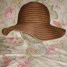 "NWOT Woven brown & golden color wide soft brim hat, 58.5 cm 23"" -  3"" rim"