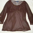Evening,Plus 2X,Sequins Pink,Dark Brown,Top,Blouse