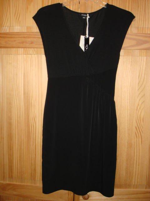 Marina Rinaldi Max Mara Elegant Black Dress size 2_NWT, jersey top wool blend.