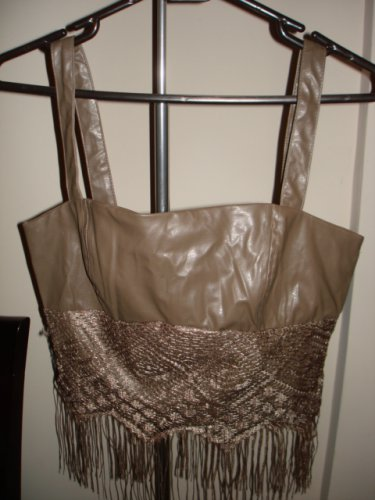 New & Tag-Fitted Bodice,Tank top-Vest Curves Corset- light Chocolate leather like with Lace, M