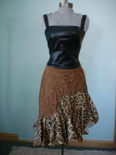Brand new with tag Leopard & Suede (like), UNEVEN HEM,GYPSY STYLE FLARE BOTTOM Skirt S,M, L,XL
