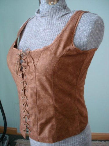 NWT-S -Renaissance Goth Fitted Corset Bodice,Tank top-Suede like , beige