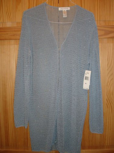 JONES NEW YORK long Tunic,Light Bluish Gray long sweather shiny beads Rayon XL