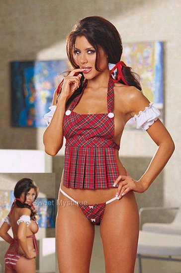SEXY Plaid Naughty School Girl Dancer Stripper Costume Lingerie