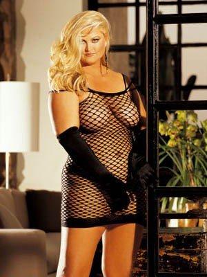 SEXY Plus Big Hole Fishnet Mini Dress QUEEN Club Wear Lingerie