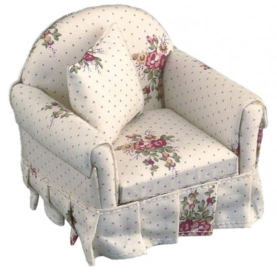 Dollhouse PINK ROSE ARM CHAIR Reutter Porcelain Miniature Furniture 1:12 Scale