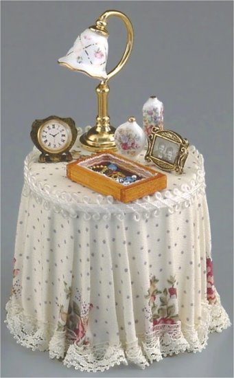Dollhouse PINK ROSE SKIRTED TABLE Reutter Porcelain iniature Furniture 1:12 Scale