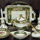 Dollhouse IRISH ROSE DINNER SET Reutter Porcelain Miniature Dishes 1:12 Scale