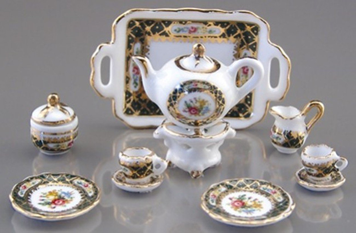 Dollhouse Irish Rose Tea Set Reutter Porcelain Miniature
