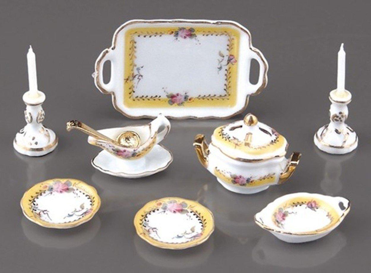 Dollhouse French Rose Dinner Set Reutter Porcelain