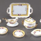 Dollhouse FRENCH ROSE DINNER SET Reutter Porcelain Miniature Dishes 1:12 Scale