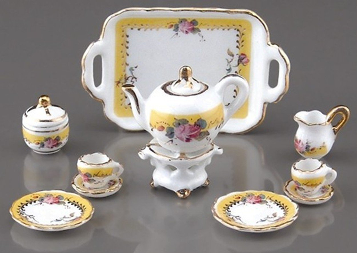 Dollhouse French Rose Tea Set Reutter Porcelain Miniature