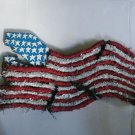 Folk Outsider Art American Flag Stretched 8 Track Tapes red white blue