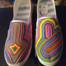 Psychedelic Custom Painted Canvas Women's Shoes Size 10