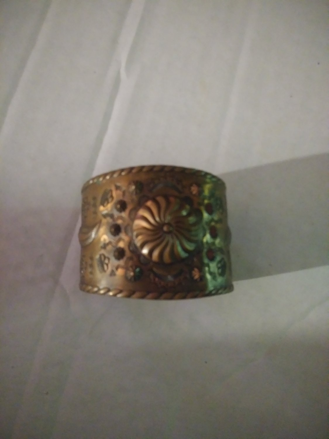 Vintage Large Copper Native American Cuff Signed Bell