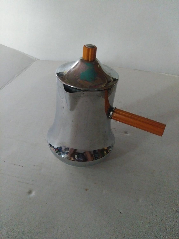 Vintage Art Deco Chrome Farberware Coffee Pot Bakelite Butterscotch Handle