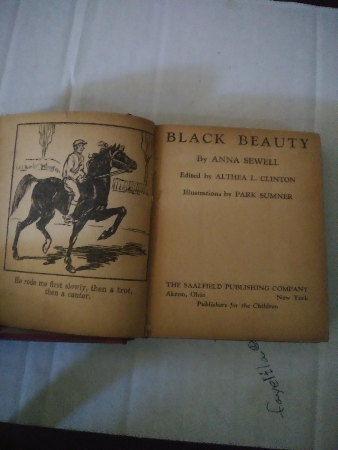 1934 Black Beauty Hard Cover Book By Anna Sewell