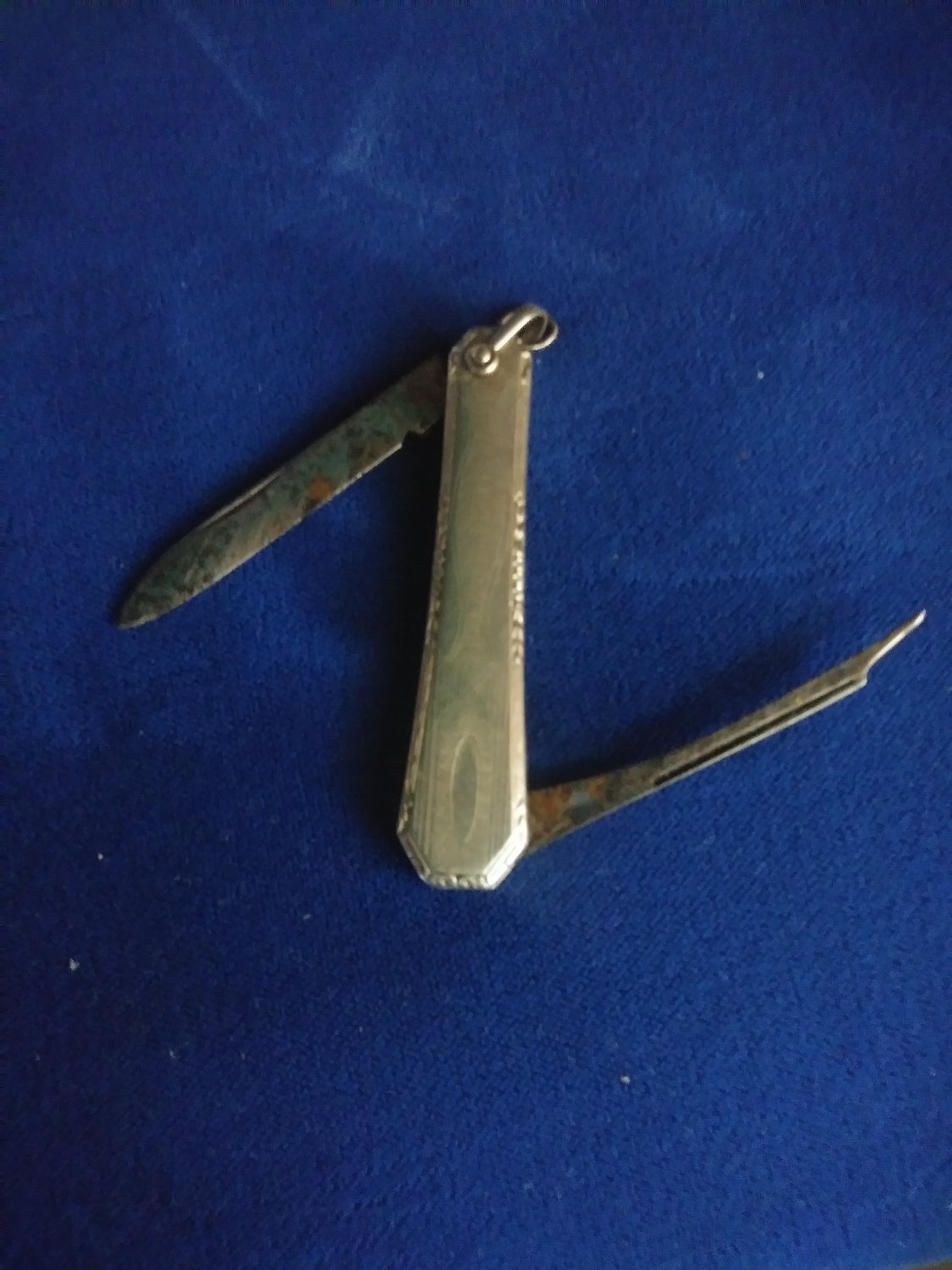 Vintage Art Deco Watch Fob Pen Knife Silver Color signed O.M.D.