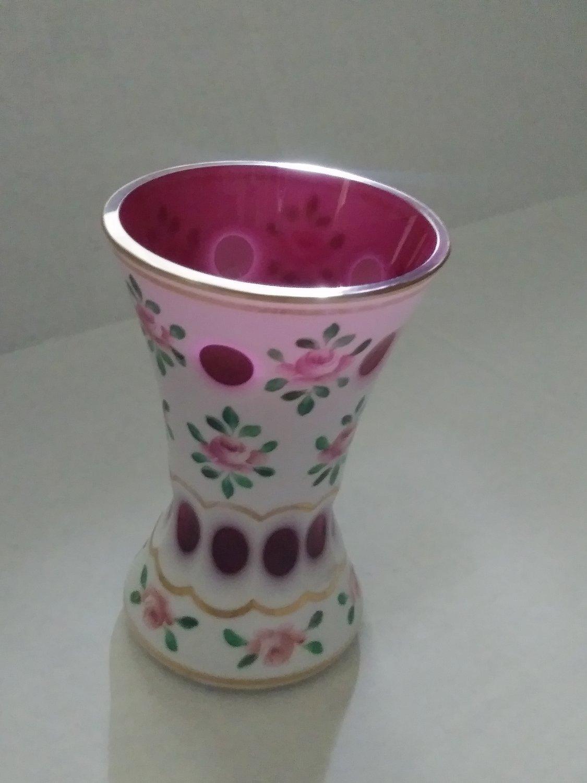 Antique Victorian Opalescent Vase Pink Flowers Motif