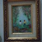 Vintage Signed Enamel On Copper Painting In Gold Frame Boy And Girl In Woods