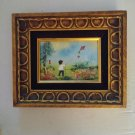 Vintage Signed French Artist Cardin Enamel On Copper Painting Framed Boy Flying Kite
