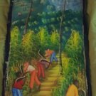 Vintage Signed Haiti Haitian Island Oil or Acrylic Painting Clearing The Way